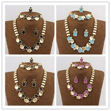 Women 18K Gold Plated Austrian Crystal Wedding Necklace Jewelry Sets In 4 Color