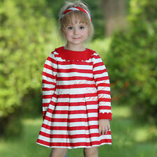 Toddler Kids Striped Girls Dress Casual Princess Birthday Party Autumn Clothing
