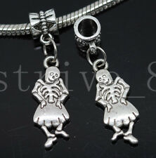 6/30/150pcs Tibetan Silver skeleton Bulk Lots Dangle European Charms Bracelet