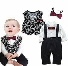 Baby Boy Wedding Christening Formal Tuxedo Suit+Waistcoat Outfit Cloth Set 3-24M
