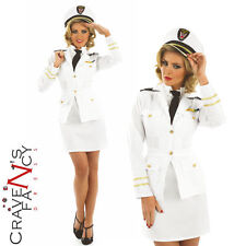 Ladies 40s Lady Navy Officer Sailor Naval Captain Costume WW2 Fancy Dress 8-26