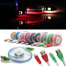 Retractable Micro USB Data Sync Charging Cable Lead LED Light For Cell Phone Lot
