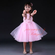 New Rosettes Embroidered Girls Dresses Princess Wedding Bridesmaid Pageant Dress