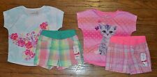 Jumping Beans Short Sleeve Cat or Butterfly Plaid Short Set 2T 3T 4T