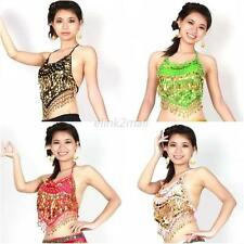Sequins Beads Bells top gold coins belly dance Costume dancing clothe Bra E96
