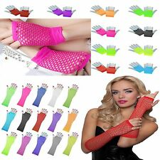New Sexy Ladies Girls Long Fingerless Fishnet/Lace Gloves 80s Burlesque Fancy
