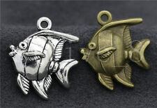Lot 6/20/100pcs Antique Silver Lovely Deep sea fish Charms Pendant DIY 25x22mm