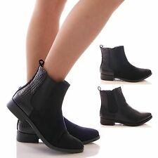 LADIES WOMENS SNAKE ANKLE BOOTS BLACK CHELSEA ZIP FASHION SHOES SIZE