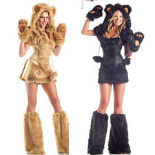 Sexy Women Brown/Black Bear Costumes Halloween Furry Cosplay Outfit Fancy Dress