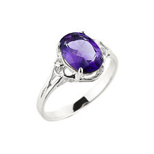 14K White Gold Ladies February Birthstone Oval Shape 1.97ct Amethyst Gem Ring