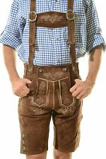 Bavarian Oktoberfest Lederhosen Shorts German Tracht Outfit dark brown #BERG