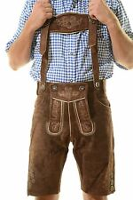 Bavarian Oktoberfest Lederhosen Shorts German Tracht Outfit dark brown #KURT