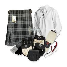SCOTTISH PARTY KIT KILT OUTFIT - GRANITE GRAY - WHITE - SIZES & UPGRADES!
