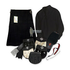 SCOTTISH PARTY KIT KILT OUTFIT - BLACK (PLAIN) - BLACK - SIZES & UPGRADES!