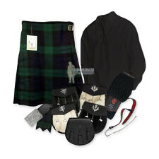 SCOTTISH PARTY KIT KILT OUTFIT - BLACK WATCH - BLACK - SIZES & UPGRADES!