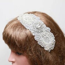 Bridal Wedding Rhinestone Crystal Beaded Applique Hair Comb Clip Ribbon Headband