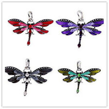 Classic Dragonfly Charms Necklace With Chain Rhinestone Inlay Gemtone