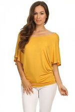 ColorMC Women's Plus Size Boat Neck 3/4 Flutter Sleeve Knit Tunic Sleeve Top
