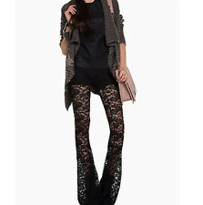Sexy Ladies See-through Lace Mesh Bell Bottom Long Pants Party Show NEW Trousers