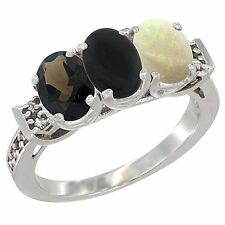 10k White Gold Natural Smoky Topaz, Black Onyx & Opal 3-Stone Ring, Oval Cut