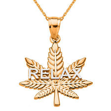 """RELAX"" Marijuana 14k Rose Gold Pot Weed Cannabis Leaf Script Pendant Necklace"