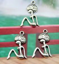 wholesale:30/60 /100 pcs Retro style Lovely  girl silver alloy charms Pendants