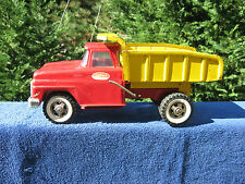 "Vintage 1960's? Red & Yellow Pressed Steel Tonka Dump Truck 13 3/8"" Length"