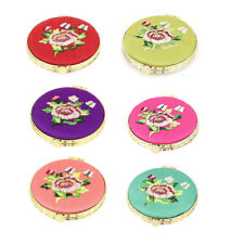 Silk Embroidery Round Shape Folding Portable Pocket Makeup Cosmetic Mirror