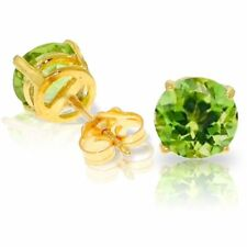 Genuine Peridot Round Gemstones Studs in 14K Yellow, White or Rose Gold Earrings
