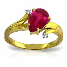Genuine Red Ruby Pear  Cut Gem & Diamonds Ring in 14K. Yellow,  White, Rose Gold