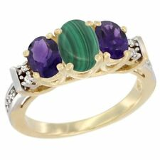 10k White or Yellow Gold Malachite & Amethyst 3-Stone Oval Diamond Accented Ring