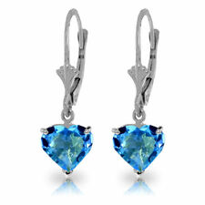 Genuine Blue Topaz Gems Hearts Leverback Earrings 14K Yellow, White or Rose Gold