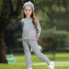 Casual Girls Clothes Set Gray Long Sleeve T-Shirt + Pants Trousers Kids Outfits