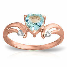 Genuine Blue Topaz Heart  Gemstone & Diamonds Ring 14K Yellow,  White, Rose Gold