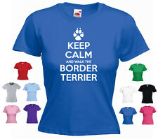 'Keep Calm and Walk the Border Terrier' Dog Pet Funny Ladies T-shirt Tee