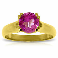 Genuine Pink Topaz Round Gemstone Solitaire Ring 14K Yellow,  White or Rose Gold