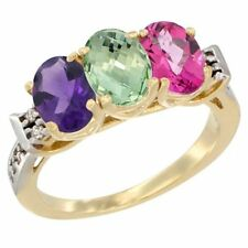 10k Yellow Gold Natural Amethyst, Green Amethyst & Pink Topaz 3-Stone Oval Ring