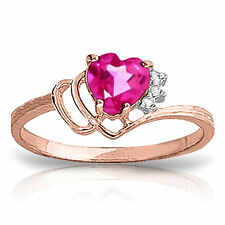 Genuine Pink Topaz Heart  Gemstone & Diamonds Ring 14K Yellow,  White, Rose Gold