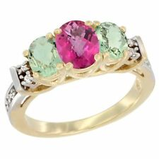 10k Yellow Gold Natural Pink Topaz & Green Amethyst 3-Stone Oval Cut Ring