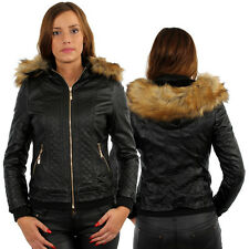 New Women's Faux Leather Bomber Short Jacket Fur Lining Winter Limited Hooded