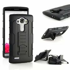 Heavy Duty Shockproof Hybrid Silicone Armor Tough Hard Case Cover With Belt Clip