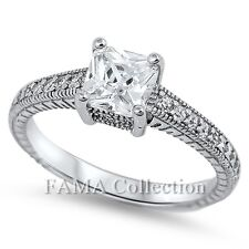 Vintage FAMA 925 Sterling Silver Engagement Ring Princess Cut 1.50CT CZ Size 5-8