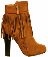 RJ12 New Womens Ladies Fringe Tassel Suede Block High Heeled Ankle Zip Up Boots.