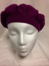 Charter Club Cable Knit Cashmere Beanie Hat Fuchsia NWT