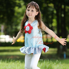 2PC Girls Clothing Set Flower Vest Top and Leggings Pants Summer Casual Outfits