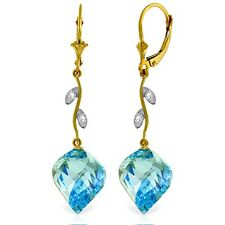 Natural Blue Topaz Gems & Diamonds Chandelier Leverback Earrings 14K. Solid Gold