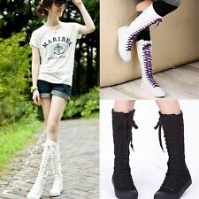 Womens Girl Canvas Lace Up Knee High Boots Sneakers Flat Punk Shoes Black White