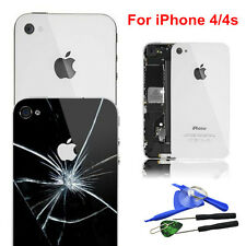 Apple iPhone 4 4S Glass Replacement Back Rear Battery Cover Case + 8 TOOLS UK