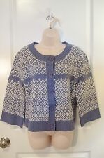 Carroll Reed Sweater Lambs Wool Size M Medium Button Up Blue White