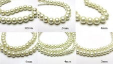 3mm/4mm/6mm/8mm/10mm/12mm Glass Pearl Round Spacer Charm Loose Beads Milk White